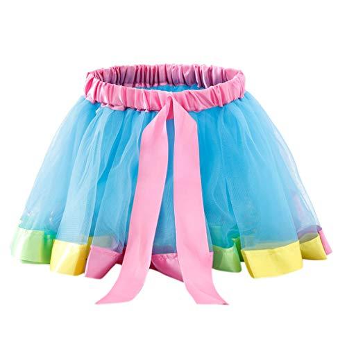VIcoo kinderen peuters meisjes balleet dans ruches plissé Tutu Rok fantasie regenboog kleur glitter satijn rand petticoat kanten up bowknot A-Line jurk 0-8T - Lake Blue - Large