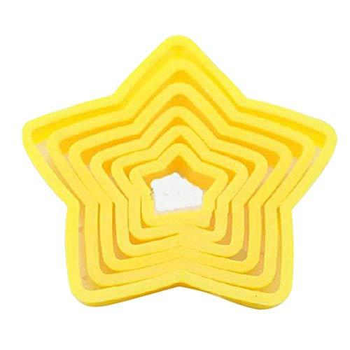 6 Pcs/Set Biscuits Cutter Cadre Fondant Biscuits Gâteau Moule Bricolage Star Moules Cookie Maker Outil De Décoration De Gâteau Accessoires De Cuisine, Jaune, Chine