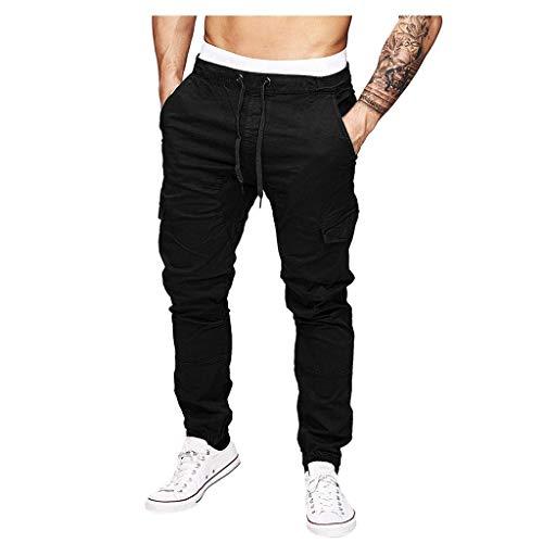 NEARTIME Pants for Mens, Men's Sport Pure Color Bandage Casual Loose Sweatpants Drawstring Running Pant Joggers