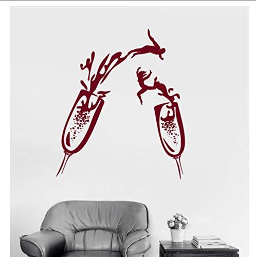 JHLPVinyl muursticker glas champagne partij entertainment plaats muur decoratie sticker woonkamer decoratie 42x49cm