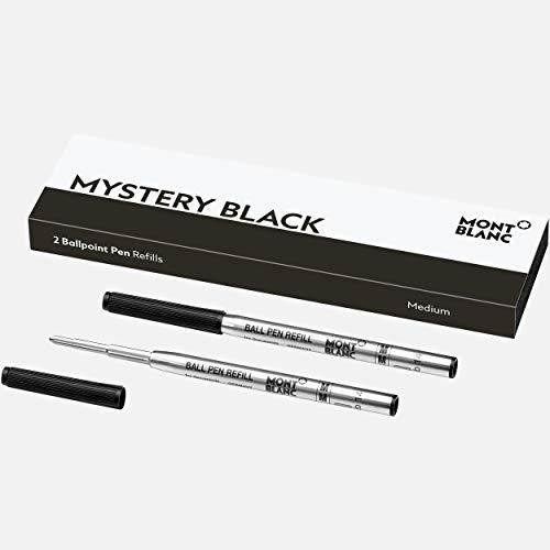 Montblanc 128211 - Refill per penna a sfera medi, Nero (Mistery Black), Confezione da 2
