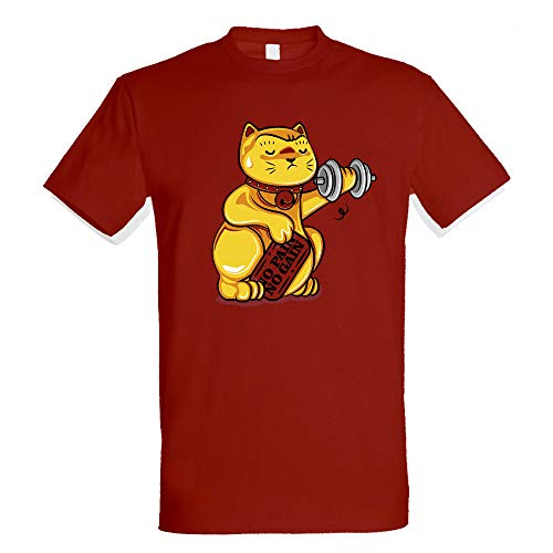 Pampling No Pain No Gain - Gym - Gato de la Suerte Chino, Camiseta Hombre, Rojo Tango, S