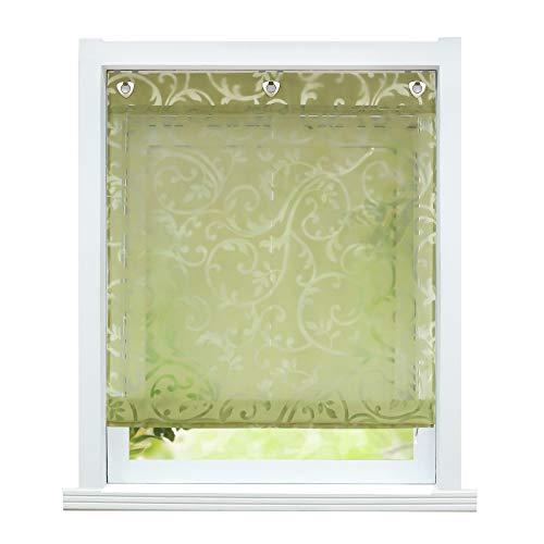 ESLIR Raffrollo ohne Bohren Raffgardine mit Ösen Gardinen Küche mit U-Haken Ösenrollo Halbtransparent Modern Grün BxH 80x140cm 1 Stück