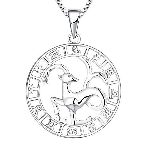 YL Collar Capricornio de plata 925 Horóscopo de plata Zodíaco 12 Constelación Collar colgante para mujeres y niñas