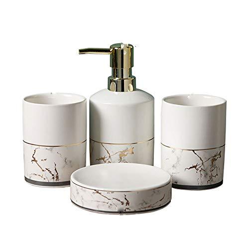 TXOZ-Q Casa de Accesorios de baño Set, 4 Pieza baño Cerámica Accesorios Completa con loción, Bomba de jabón, Cepillo de Dientes Titular, Taza Perfecta del Regalo Decoración (Size : B)