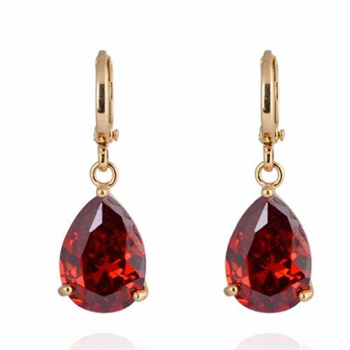 Yazilind Encanto liso chapado en oro embutido Teardrop Circonita cúbico rojo los pendientes de gota del diseño simple cuelgan de la Mujer