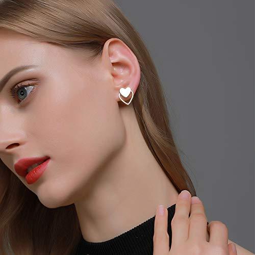 YienDoo Fashion Double Heart Stud Earrings Dainty Dangle Hollow Heart Shaped Hoop Ear Drop Silver Earrings for Women and Girls