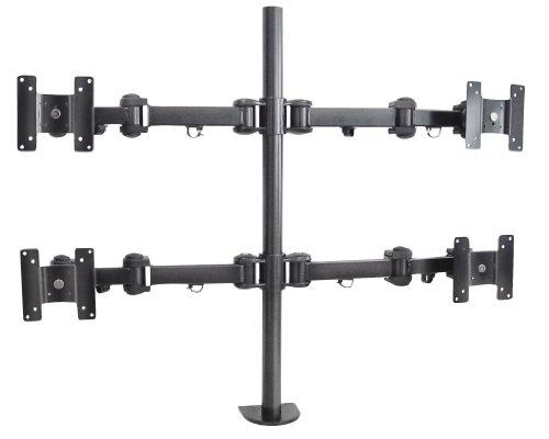 My Wall HL6-4L, 20 jaar garantie, tafelhouder voor VESA monitor tot 48 cm (19 inch) (belastbaarheid 4x 6 kg, kantelbaar, draaibaar) zwart