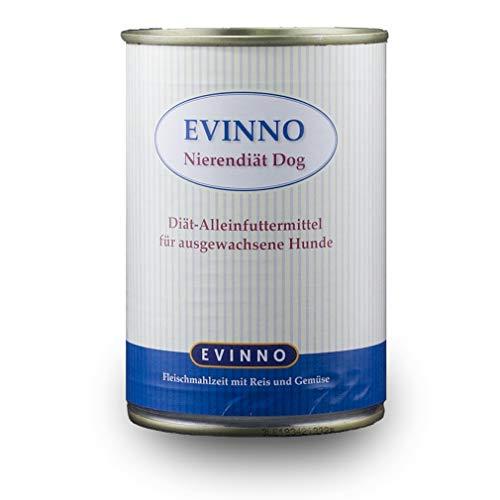 EVINNO Nierendiät Dog 400g Dosen zur Unterstützung der Nierentätigkeit von Hunden bei chronischer Niereninsuffizienz Schonkost Nassfutter (12x400g)