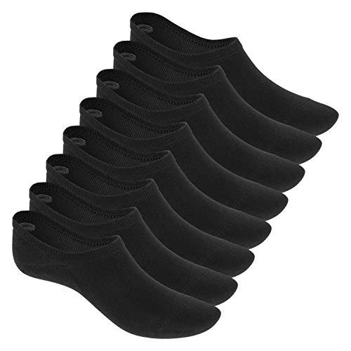 Footstar Damen & Herren Eco Füßlinge (8 Paar), Sneaker Socken aus EcoVero Viskose – Schwarz 35-38
