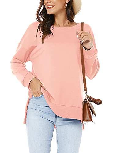 VIISHOW Womens Casual Long Sleeve Sweatshirt Crew Neck Cute Pullover Relaxed Fit Tops,Pink,2X-Large