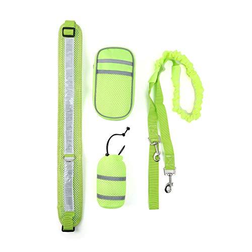 Shapl 4-teiliges Set Hundeleine zum Laufen | Verstellbarer Hüftgurt | Flexibles reflektierendes Zugseil | Zwei abnehmbare Taschen für Handy und Schlüssel