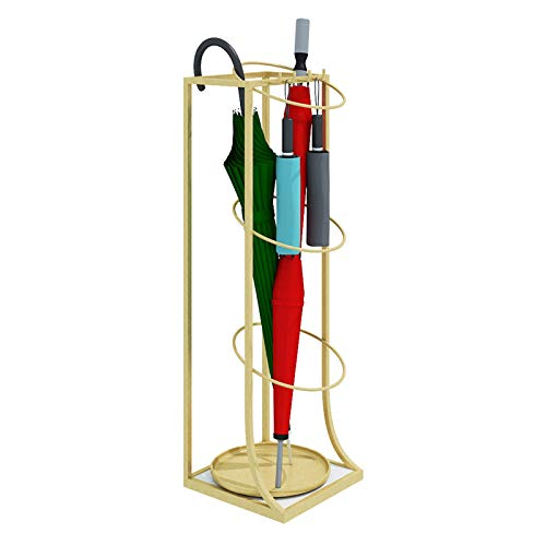 JLXJ Tall Entryway Gold Umbrella Stand Rack, Square Modern Indoor Outdoor Patio Metal Walking Sticks Holder with Hooks and Drip Tray