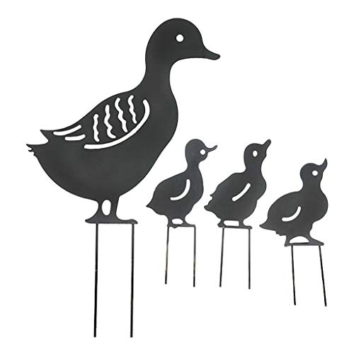 Fenteer Metallo Animale Yard Decor-a Forma di Anatra Arte del Giardino per Esterno Decorazioni-Outdoor Decorativo Palo del Giardino Prato - Nero