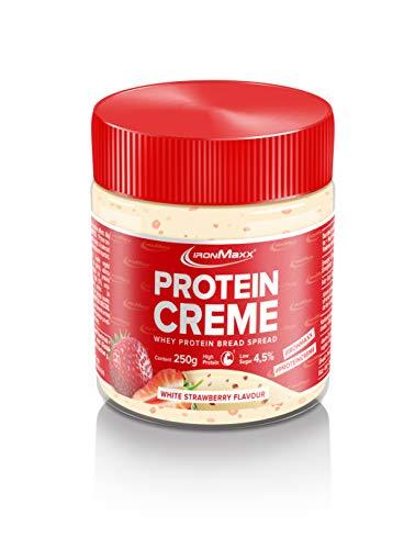 IronMaxx Protein Creme, Erdbeere-Weiße Schokolade – Leckerer Low Carb Schokoladenaufstrich mit bis zu 30% Proteingehalt - ideal für Diätphase & Definitionsphase, 250 g