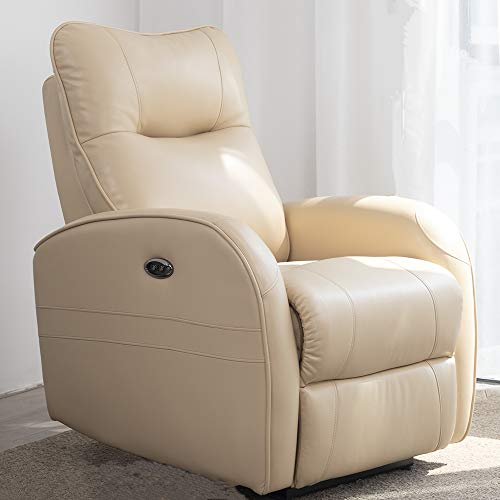 DMF Electric Recliner Chair W/Breath Leather and Modern Power Single Sofa Home Theater Recliner Seating W/USB Port(Beige)