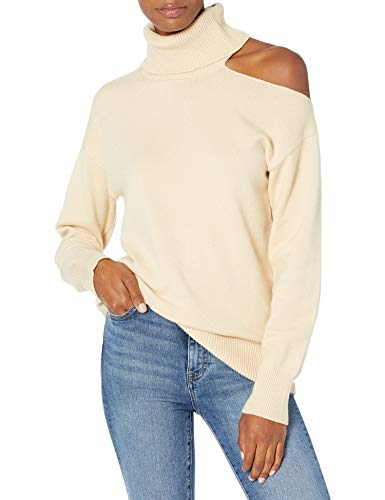 The Drop Women's Josephine Long Sleeve Cutout Loose Turtleneck Sweater