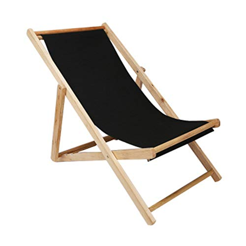 Lovehouse Adjustable Sling lounge chair, Wood Beach chair Outdoor Portable Folding chair For patio garden pool,Natural frame,Waterproof canvas-Black