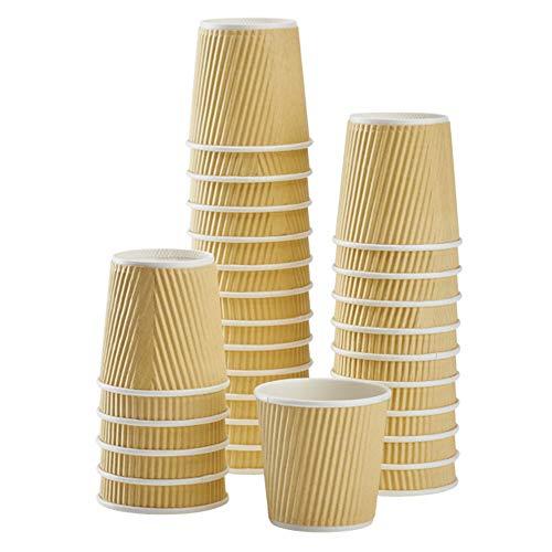 Karat C-KRC504 4 oz. Ripple Paper Hot Cups - Kraft (Case of 1000)