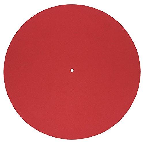 Echtleder Plattenmatte als Plattentellerauflage, rot, glatt, Turntable Slipmat, von FREIRAUM®-Trend