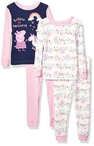 Peppa Pig Girls' Toddler 4 Piece Cotton Pajama Set, Unicorns, 4T