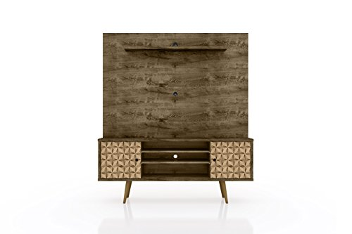 Manhattan Comfort Liberty Complete Living Room Entertainment Center and TV Stand, Brown/3D Brown