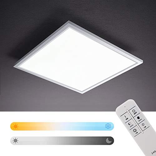 IMPTS Dimmbar LED Deckenleuchte Panel,395X395mm,Dimmbar und Farbwechsel,Quadrat Ultra-Flach,Deckenlampe mit Fernbedienung,Farbtemperatur Einstellbar Warmweiss- Kaltweiss (2700-6500K)
