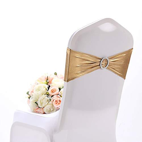 Namvo 10 lazos elásticos para silla, con hebilla de elastano, elásticos, para bodas, hoteles, eventos, decoración (dorado)