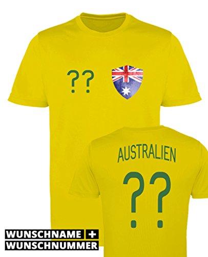 Comedy Shirts - Australien Trikot - Wappen: Klein - Wunsch - Jungen Trikot - Gelb/Dunkelgrün Gr. 122-128