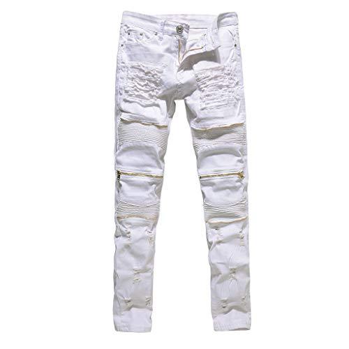 Fashion Men Stretchy Skinny Distressed Pants Knee Zipper Ripped Denim Jeans Pantalons Hommes Hip Hop Style Hipster Baggy Rap Urbain Skate Jambe Droite LâChe Fit pour Les GarçOns(Blanc 1,28)
