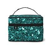 Custodia multifunzione per turchese blu finto glitter verde acqua Teal Aqua Portaoggetti per pennelli per donne, ragazze