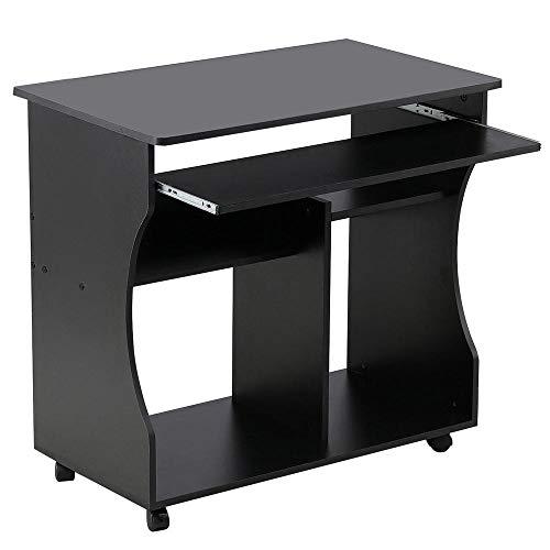 Yaheetech Schreibtisch Computertisch Eckschreibtisch mit Ablagen und Rollen, 80 x 48 x 76 cm für Home office Schwarz
