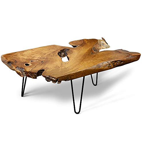 StyleCraft Badang Carving Natural Wood Edge Teak Contemporary Coffee Cocktail Table with Clear Lacquer Finish and Metal Hairpin Legs for Living Room