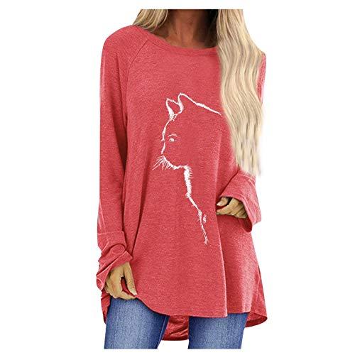 Sudadera Camiseta de Manga Larga Mujer, 2021 Moda Casual Diario Elegante Impresión de Gato Cuello Redondo Bolsillo Blusas Bolsillo básica Suelto Camisas Top tee Jersey