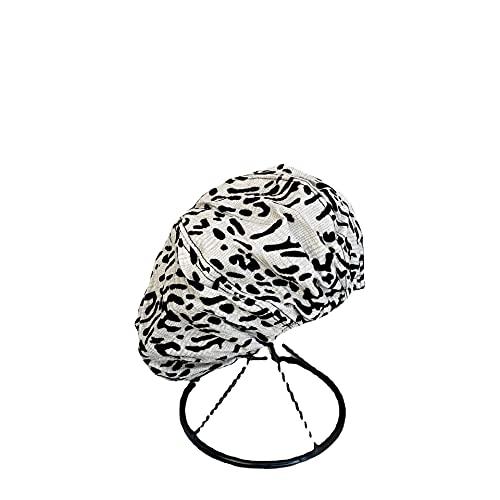 Boina con Estampado De Leopardo Sombrero De Nube Femenino Chica Otoño E Invierno Retro Sombrero De Pintor Octogonal Lindo Viaje Al Aire Libre Moda Boina-Blanco, 56-58Cm
