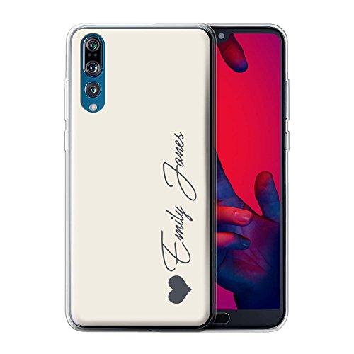 Stuff4® Personalisiert Persönlich Pastell Töne Gel/TPU Hülle für Huawei P20 Pro/Elfenbein Herz Design/Initiale/Name/Text Schutzhülle/Hülle/Etui