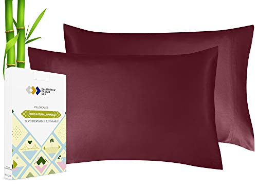 Silky Smooth and Soft Cases for Hair & Skin, Fabric from 100% Bamboo, Set of 2 Cooling Bamboo Pillow Standard Fits Standard & Queen Pillows, Rayon (Burgundy)