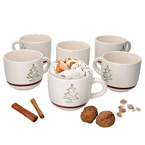 MamboCat 6er Set Kaffeebecher Weihnachtsbaum I 300 ml I Christmas Tree, X-Mas Time I mit Tannenbaum Dekor I Weihnachten I Glühwein I Eierlikör I Punsch I Tasse I Pott