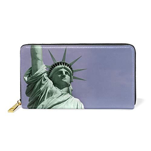 Estatua Azul De Nueva York Billetera Mujer Cremallera Billetera de Cuero Cartera Teléfono Tarjeta de Credito Delgada Tarjetero para Chica Hombre