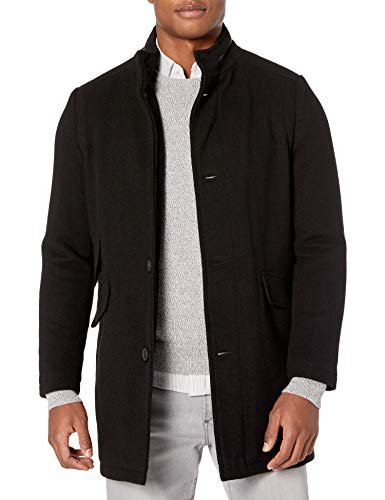 Kenneth Cole New York Men's Water Resistant Wool Jacket, Black, Large