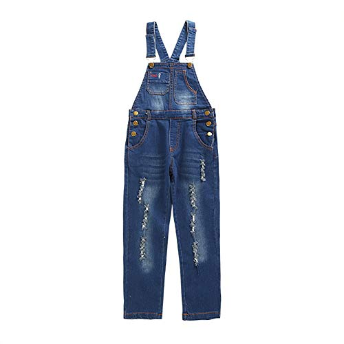 4-13Years Little&Big Girls Overalls Pull-up Belt Elastic Classic Hole Pure Color Denim Overalls1pcs Jumpstuis(7-8Y,Hole)