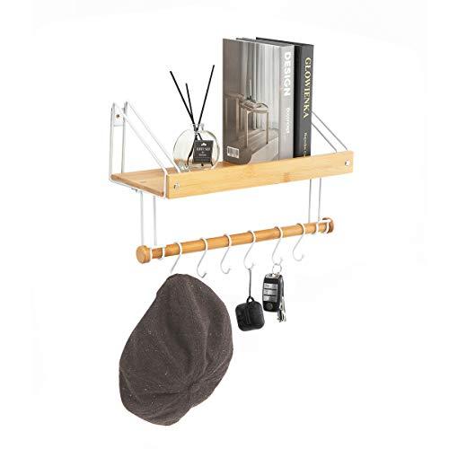 J Jackcube Design – Bambus schwebende Regale Wandhalterung Organizer für Wohnzimmer Küche Badezimmer Mehrzweck-Hängeregal mit 6 Haken für Tassen, Gewürze, Handtücher, Kochutensilien -MK518A (Bambus)