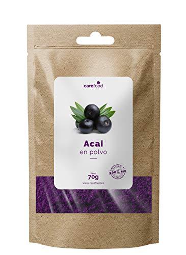 Acai en Polvo 100% Orgánico 70 gr Carefood   Bayas de Acai   Acai Berry   100% BIO   Natural y sin Azúcares añadidos