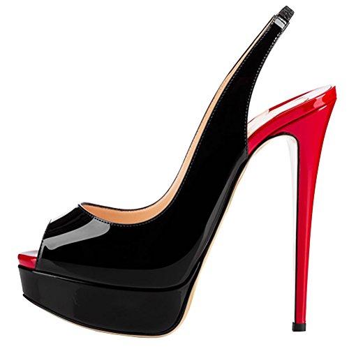 COLETER Zapatos de tacón alto con plataforma para mujer, color Rojo, talla 39.5 EU