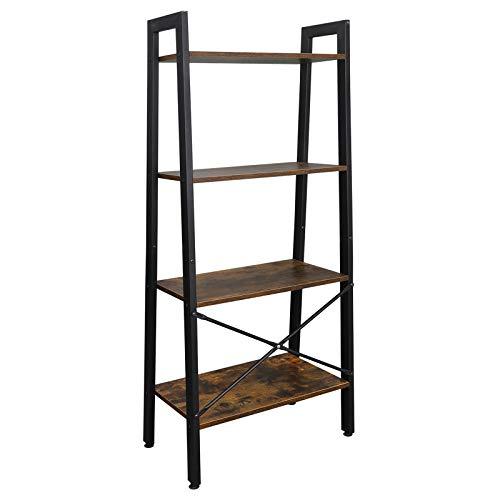 SUPER DEAL Ladder Shelf 4-Tier Bookcase Plant Book Display Furniture Storage Rack Shelf for Lounge Room Home Office Bathroom (Rustic Brown)