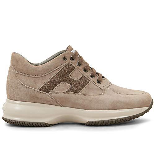 Hogan Sneaker Donna Interactive Beige in Suede - HXW00N0S360 O6UC407 - Taglia 36½