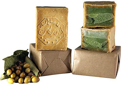 WOLOXO® Aleppo Seife 2 Stk. a 200g mit 4% Lorbeeröl & 96% Olivenöl Handarbeit Haarseife Duschseife Rasierseife Handseife Naturseife Vegan Naturkosmetik