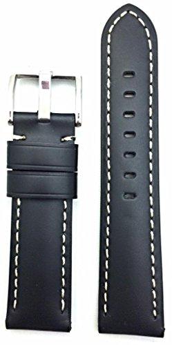 Uhrenarmband, 24 mm, schwarzes Glattleder, Panerai-Stil, weiße Nähte