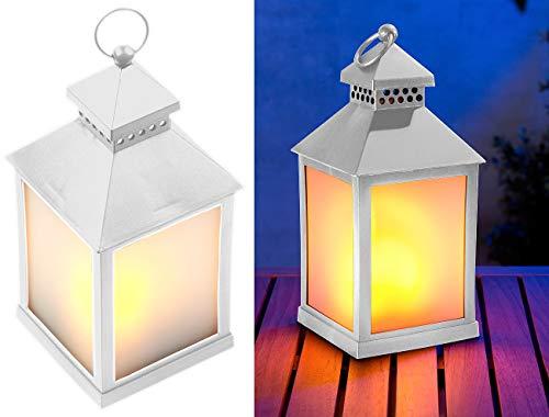 Lunartec Lampe: LED-Laterne mit realistischem Flammenspiel und Timer, weiß (Laterne mit LED Licht)
