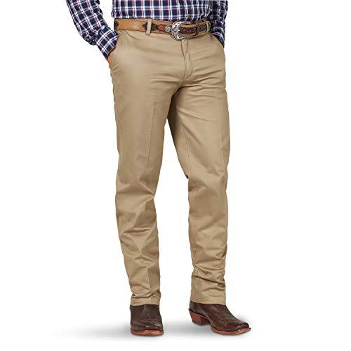 Wrangler Men's Riata Flat Front Relaxed Fit Casual Pant, Khaki, 33X30